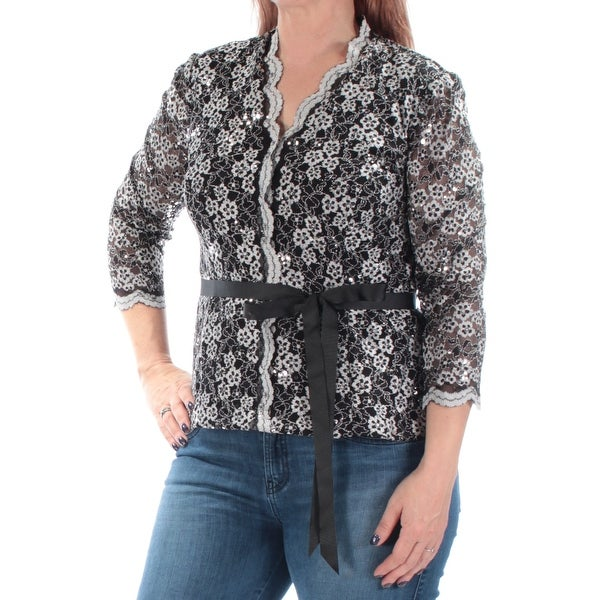 Shop ALEX EVENINGS Womens Black Sequined Lace 3 4 Sleeve V Neck Evening Top  Size  L - Free Shipping On Orders Over  45 - Overstock.com - 22641209 645d6894a