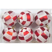Red & White Ball Ornament with Plaid Design, Pack of 6
