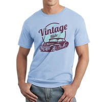 Vintage Ride Car Lover Men's Light Blue T-shirt
