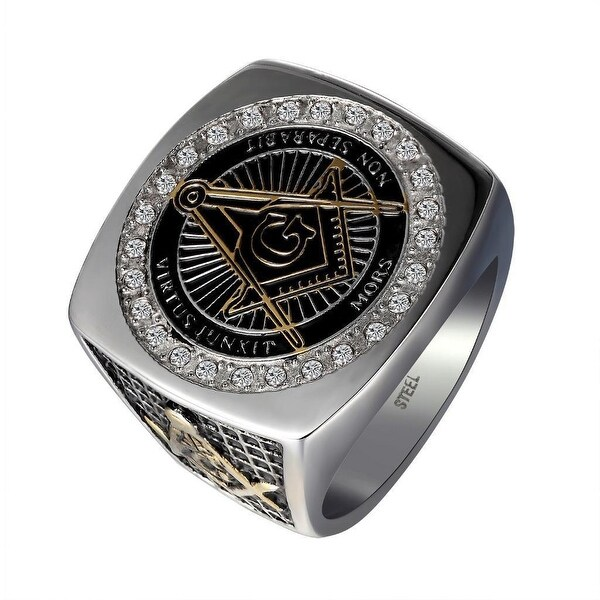 Freemason Mens Ring Stainless Steel Silver Black Tone Simulated Diamond Thick