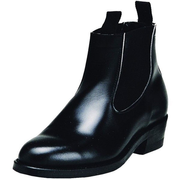 Boulet Western Boots Men Leather Congress Ankle Box Moderno Black
