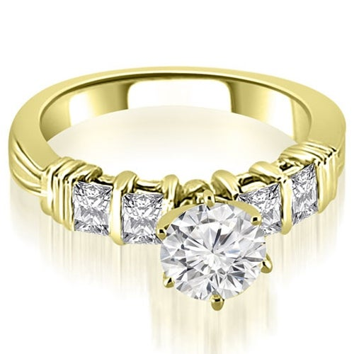 1.20 cttw. 14K Yellow Gold Bar Setting Princess Cut Diamond Promise Ring