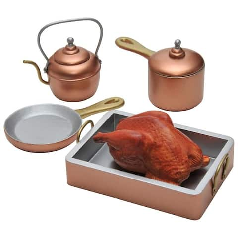 Copper Look Pots & Pans Kitchen Accessory Sized For 18 Inch American Girl Dolls