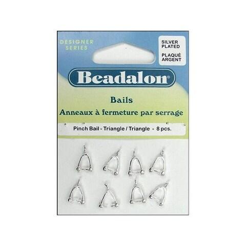 Beadalon Bails Pinch Triangle Silver Plate 8pc