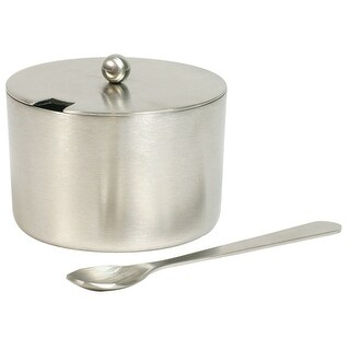 Salt Cellar with Spoon (2 oz. capacity), Stainless Steel & [size]
