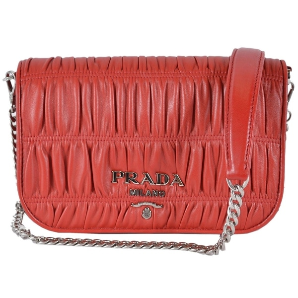 a9de5afc91 Prada 1BD137 Fuoco Red Pattina Ruched Leather Small Crossbody Purse Handbag