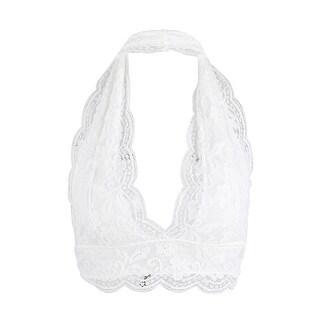 Women Floral Lace Scalloped Unpadded Halter Crop Top Bra Bustier Bralette