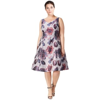 Adrianna Papell Plus Size Floral Print V-Neck Fit & Flare Cocktail Dress - 18W