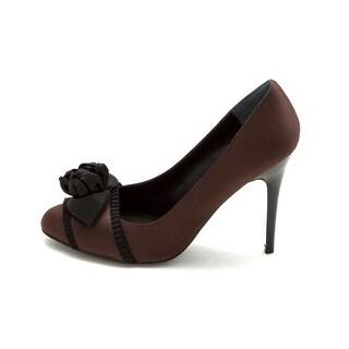 Nina Womens Xion Silk Pointed Toe Classic Pumps, Dark Brown, Size 7.5