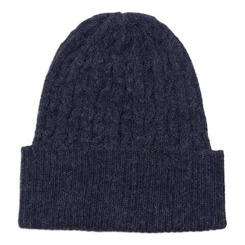 NOVICA Indigo Braid Cascade Wool hat