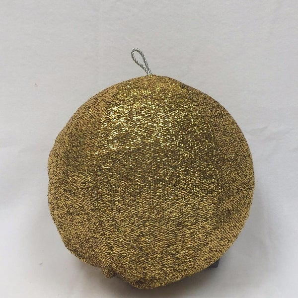 "15"" Sparkly Gold Inflatable Tinsel Ball Commercial Christmas Ornament"