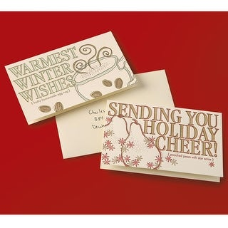Holiday Recipe Greeting Cards - Poached Pears & Homemade Eggnog - Set of 2 - MultiColor