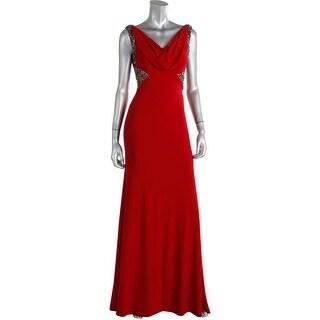 Carmen Marc Valvo Womens Embellished Sleeveless Semi-Formal Dress