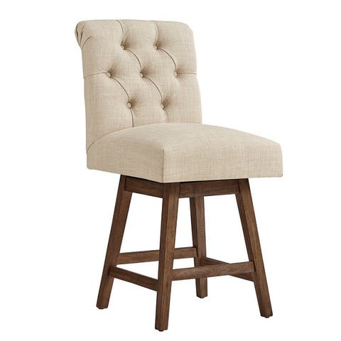 The Gray Barn Larken Tufted Linen Upholstered Swivel Stools (Set of 2)