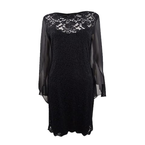 Connected Women's Lace & Chiffon Sheath Dress - Black