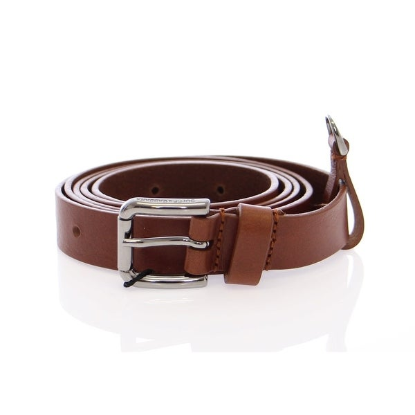 Dolce & Gabbana Brown Leather Silver Logo Belt