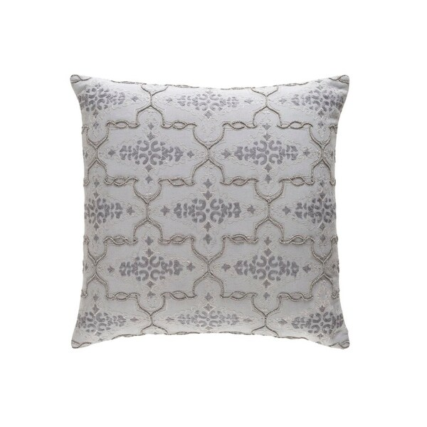 "18"" Embellished Furnishing Pearl Gray Woven Decorative Throw Pillow - Down Filler"