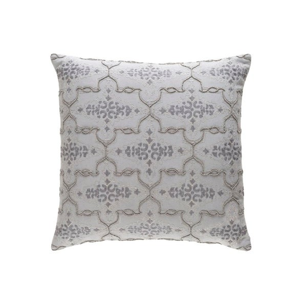 "22"" Embellished Furnishing Pearl Gray Woven Decorative Throw Pillow"