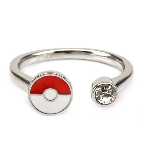 Pokemon Pokeball Red/White Stainless Steel Women's Ring w/ Gem, Size 8