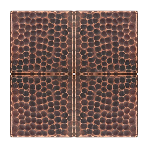Premier Copper Products T3DBH_PKG4 3-inch x 3-inch Hammered Copper Tile - Quantity 4