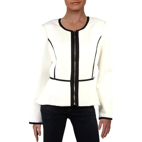 DKNY Women's Jacket White Ivory Size 16 Quilted Piped Peplum Zip Front