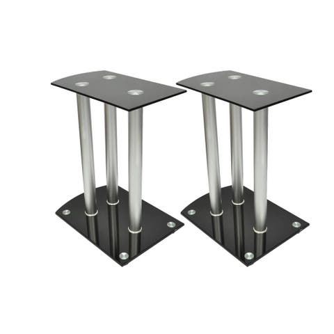 vidaXL Aluminum Speaker Stands 2 pcs Glass