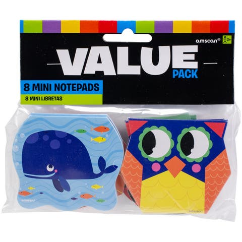 Party Favors 8/Pkg-Animal Notepads