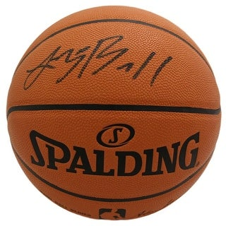 Lonzo Ball Autographed Los Angeles Lakers Spalding Basketball Black BAS