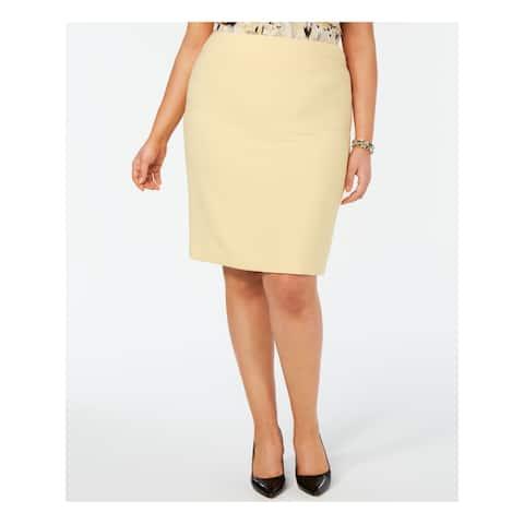 KASPER Yellow Above The Knee Pencil Skirt Size 24W