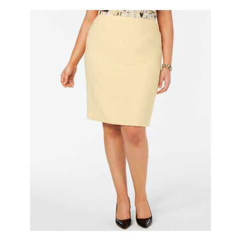 KASPER Yellow Above The Knee Pencil Skirt Size 20W