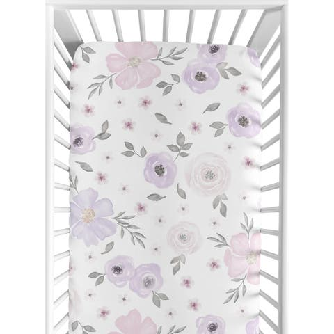Sweet Jojo Designs Watercolor Floral Collection Lavender/Purple/Pink/Grey/White Fitted Crib Sheet