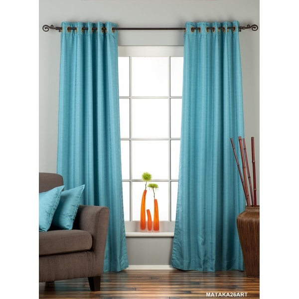 Turquoise Ring Top Matka Raw Silk Curtain / Drape / Panel - Piece. Opens flyout.