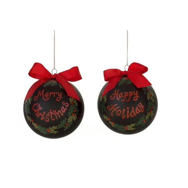 "Set of 6 Black and Red ""Merry Christmas"" and ""Happy Holiday"" Glass Ball Ornaments 4.5"""