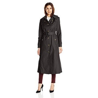 London Fog Maxi Trench Coat with a Strap in Black Large - L