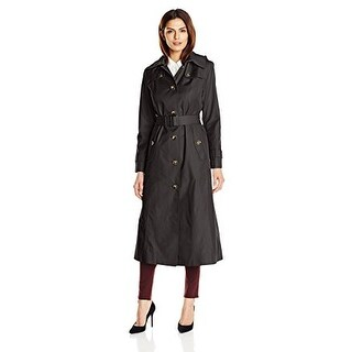 London Fog Maxi Trench Coat with a Strap in Black XS
