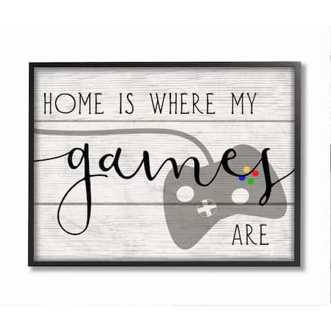 Stupell Industries Home is Where My Games Are Quote Rustic Play Design Framed Wall Art - Grey