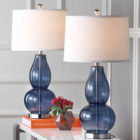 "SAFAVIEH Lighting Mercurio Blue Double Gourd 29-inch Table Lamp (Set of 2) - 15"" x 15"" x 28.5"""