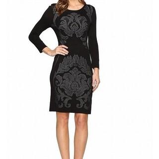 Laundry by Shelli Segal NEW Black Womens Size XS Jacquard Sweater Dress