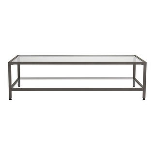 Offex Camber Rectangle Coffee Table - Pewter/Clear Glass