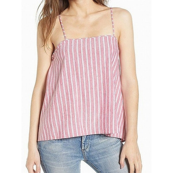 Leith Red White Striped Women's Size Large L Tank Cami Linen Top