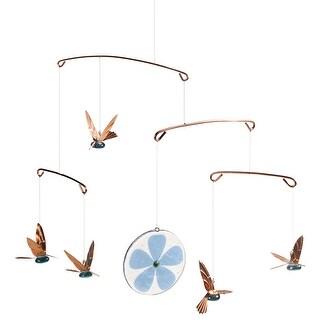 Timber Bay Home & Garden Hummingbirds Mobile - Glass & Copper Birds Indoor Outdoor Home Decor - 15 in. x 18 in.