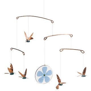 Timber Bay Home & Garden Hummingbirds Mobile - Glass & Copper Birds Indoor Outdoor Home Decor - 15 in. x 18 in.