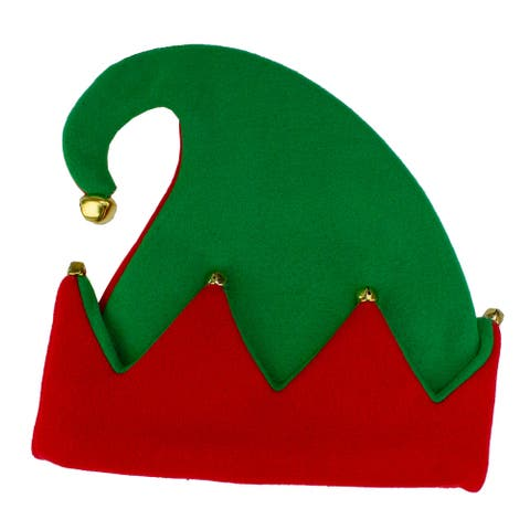 Red and Green Elf Unisex Adult Christmas Hat Costume Accessory - One Size
