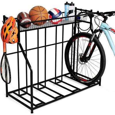 BIRDROCK HOME 4 Bike Stand Rack with Storage - Metal Floor Bicycle Nook - Road, Mountain, Hybrid or Kids Bikes - Black
