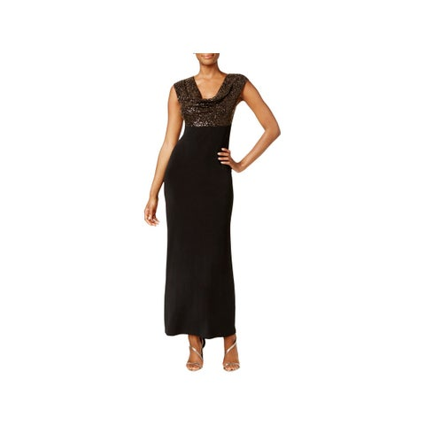 Connected Apparel Womens Evening Dress Metallic Cowl Neck