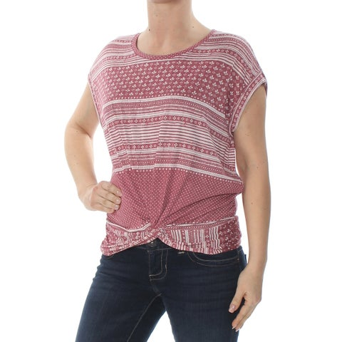 LUCKY BRAND Womens Red Twist Hem Printed Jewel Neck Top Size: M