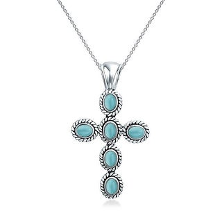 .925 Silver Natural Compressed Turquoise Cross Necklace 18 Inches