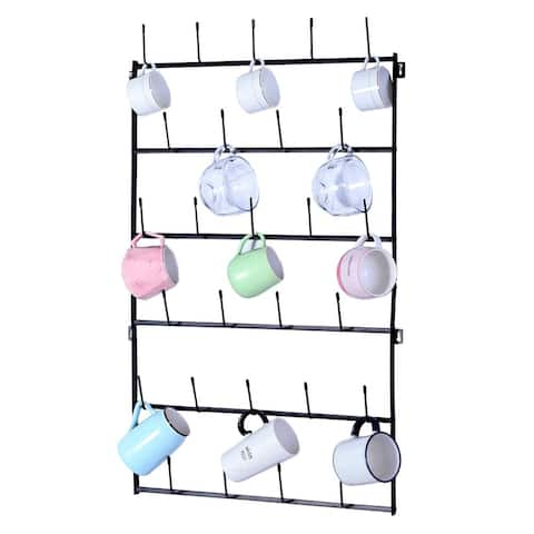 Wall Mounted Home Storage Mug Hooks with 6-Tier Display Organizer
