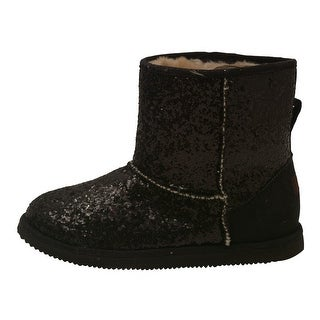 L'Amour Little Girls Black Glitter Furry Lined Suede Detail Boots 7-10 Toddler
