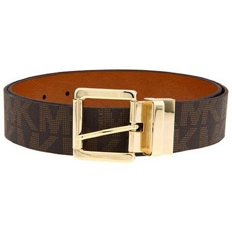 Michael Kors Women's Reversible MK Logo Belt, Chocolate/Luggage 553119C